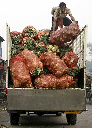 A labourer arranges sacks of vegetables on a truck.