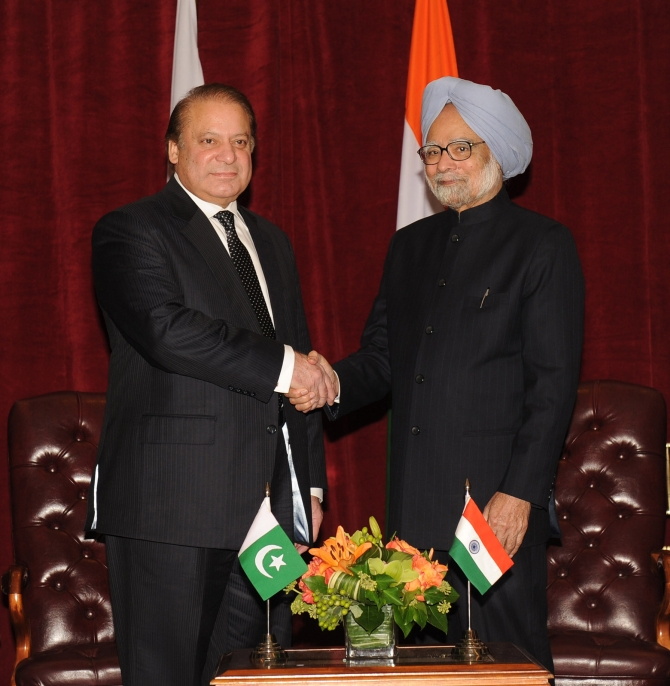 Prime Minister Manmohan Singh in a meeting with his Pakistani counterpart Nawaz Sharif in New York