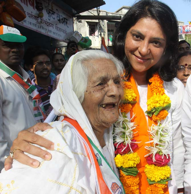 Congress candidate Priya Dutt on the campaign trail.