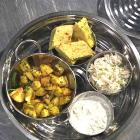 Veg Thali Recipe: Potato Curry, Peas Pulao, Dhokla, Raita and Rotli