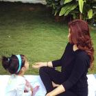 Twinkle Khanna bonds over yoga with baby Nitara