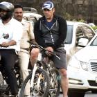 PIX: Salman rides a cycle on Mumbai's streets