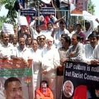 Angry Congress workers protest outside Giriraj's house