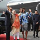 US President Barack Obama arrives in India
