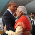 Hugs and smiles as Modi breaks protocol for Obama