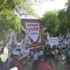 RIP achche din! AAP protests against one year of Modi sarkar