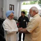 Hours after slamming achche din, Manmohan meets Modi at 7 RCR