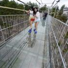 Don't look down! Terror at 3,500 feet as glass walkway cracks in China