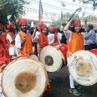 BJP celebrates twin wins with dhol and dance