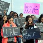 'We love peace': Hundreds march in support of Indian killed in Kansas shooting
