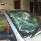 Car parked at news channel's office vandalised