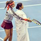 Caption this: Sania gives Didi a helping hand in tennis