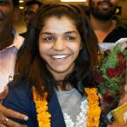 Sakshi accorded grand welcome, presented Rs 2.5 crore cheque