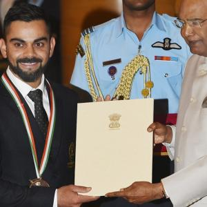 PIX: Cricket captain Kohli, lifter Chanu bask in Khel Ratna glory