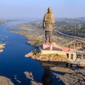 Rains create puddles inside Statue of Unity gallery