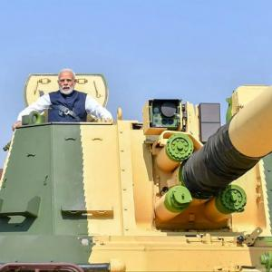 PHOTOS: PM Modi rides K9 Vajra