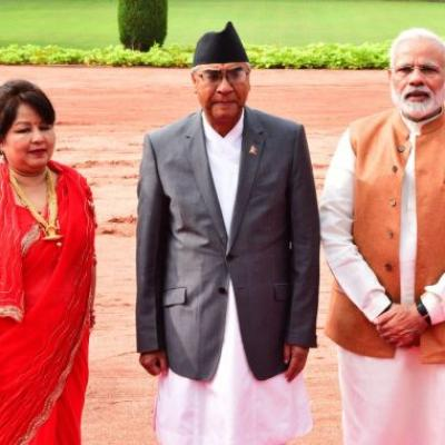 Nepal Prime Sher Bahadur Deuba and his wife with Prime Minister Narendra D Modi during his visit