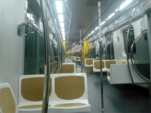 Inside one of Yellow Line 4 trains.