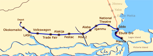 Blue Line of the Lagos Rail network.