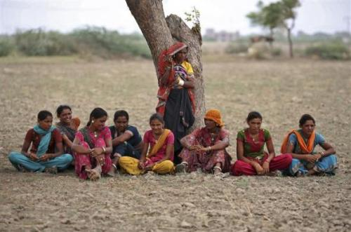 Village women rest under a tree as they migrated due to shortage of water on the outskirts of Sami town in Gujarat.
