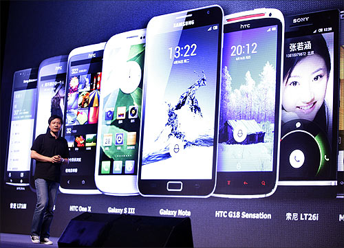 Lei Jun, founder and CEO of China's mobile company Xiaomi, speaks at a launch ceremony of Xiaomi Phone 2 in Beijing.