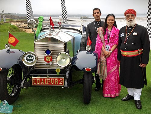 Arvind Singh Mewar, with his car, the winner of the Lucius Beebe Trophy.