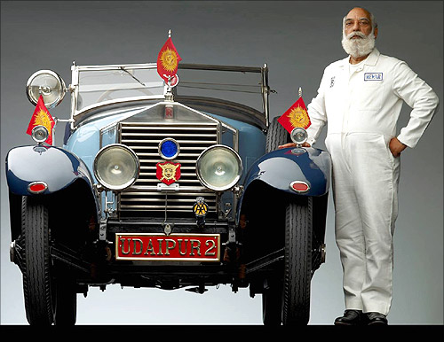 Shriji with his 1924 Rolls Royce.