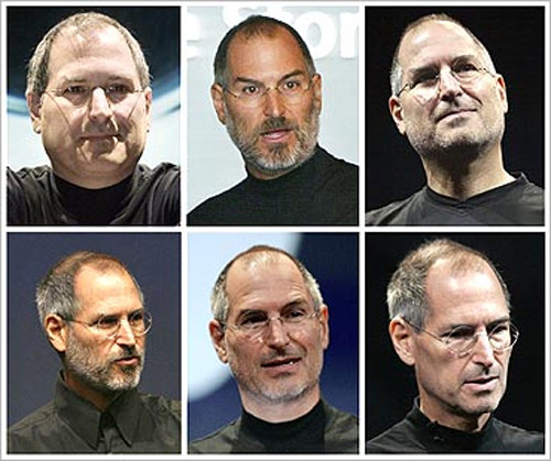 Steve Jobs is shown in this combination photo of file photographs.
