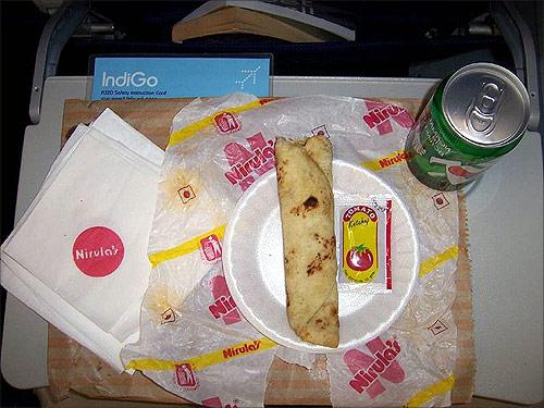 Nirulas kathi roll meal onboard IndiGo airline.