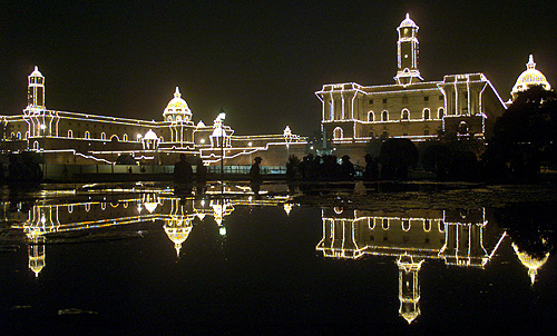 Rastrapati Bhavan illuminated marking the end of the annual Republic Day celebrations in New Delhi.