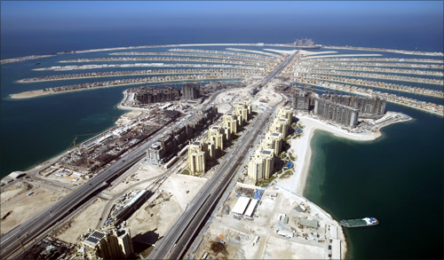 A view of The Palm Island Jumeirah in Dubai, with some residential homes that have been completed.