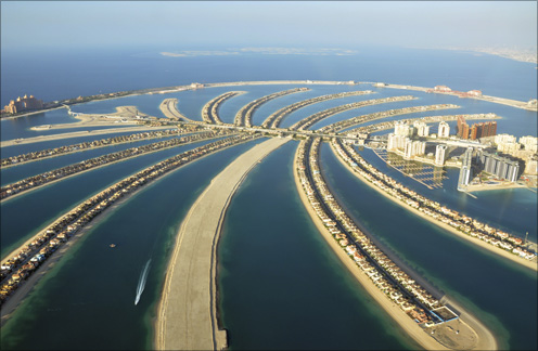 An aerial view of residences on The Palm Jumeirah.