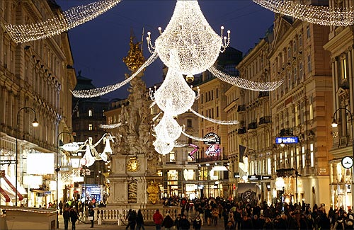 Christmas lights illuminate Vienna's city centre Am Graben.