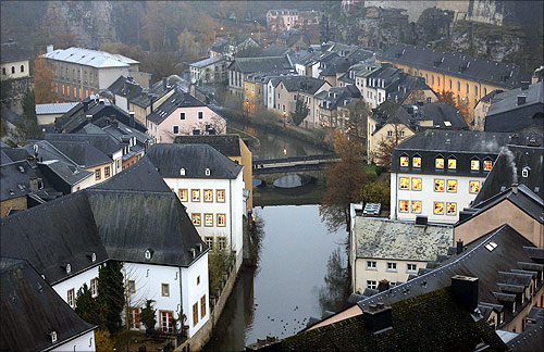The Petrusse river is seen in this general view of the city of Luxembourg.