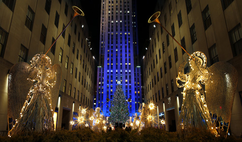 View of the 80th Annual Rockefeller Center Christmas Tree Lighting Ceremony in New York.