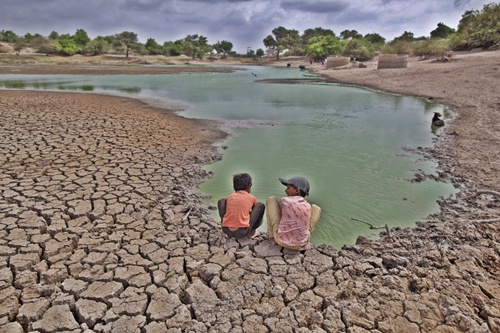 Children wash their hands in a partially dried out pond at Badarganj village, in Gujarat.