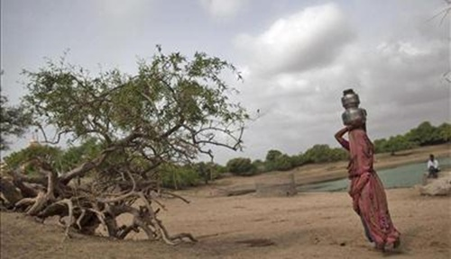 A woman carries metal pitchers filled with water from a nearby well at Badarganj village, in Gujarat.