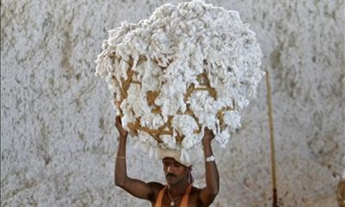 An employee works inside a cotton processing unit at Kadi town.