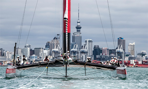 The Luna Rossa AC72 catamaran sails in the Hauraki Gulf in Auckland, New Zealand.