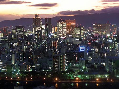 Skyline of Osaka, Japan.