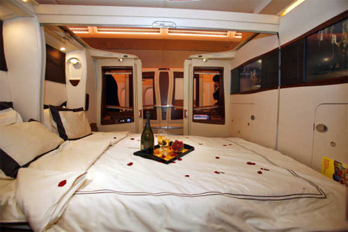 A view of inside the first-class twin cabin section of the Singapore Airlines Airbus A380 in Toulouse, France.