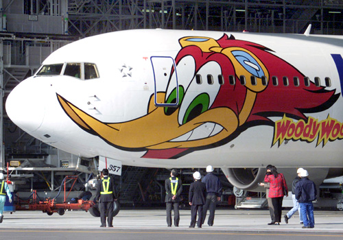 Cartoon character Woody Woodpecker adorns an All Nippon Airways Boeing 767.