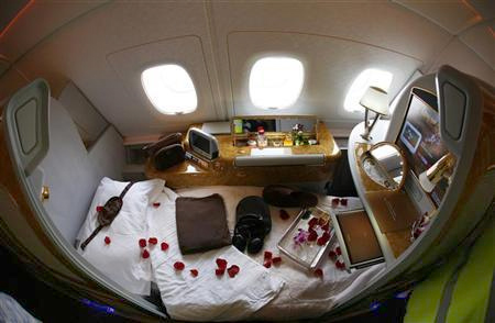 A first class seat is seen on board an Emirates Airbus A380-800 after it landed at Manchester Airport in Manchester.