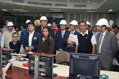 Jyotiraditya Scindia interacts with young employees at NTPC-Dadri.