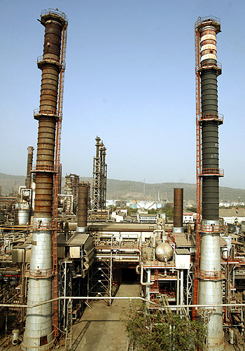 A general view of a Bharat Petroleum Corporation Ltd refinery is seen in Mumbai.