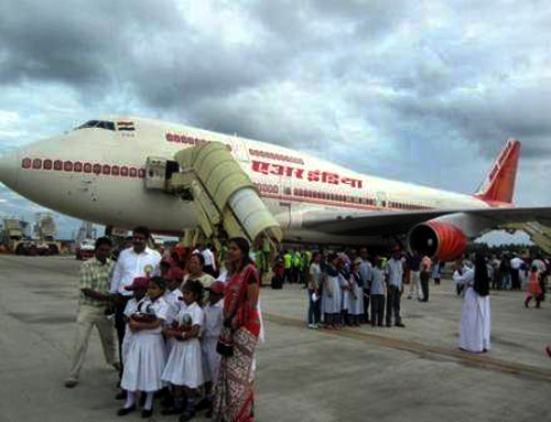 HPCL's CSR activity, taking children on a free flight.