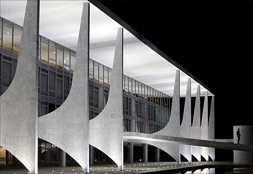 A security walks next to the Planalto Palace designed by Brazilian architect Oscar Niemeyer in Brasilia.