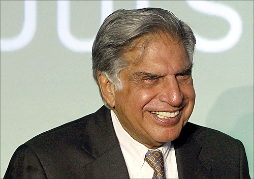 Tata Group Chairman Ratan Tata smiles during the launch of a new website for tech superstore Croma.