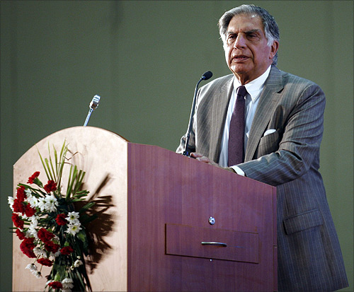 Ratan Tata speaks during the Vibrant Gujarat Global Investors' Summit 2011.