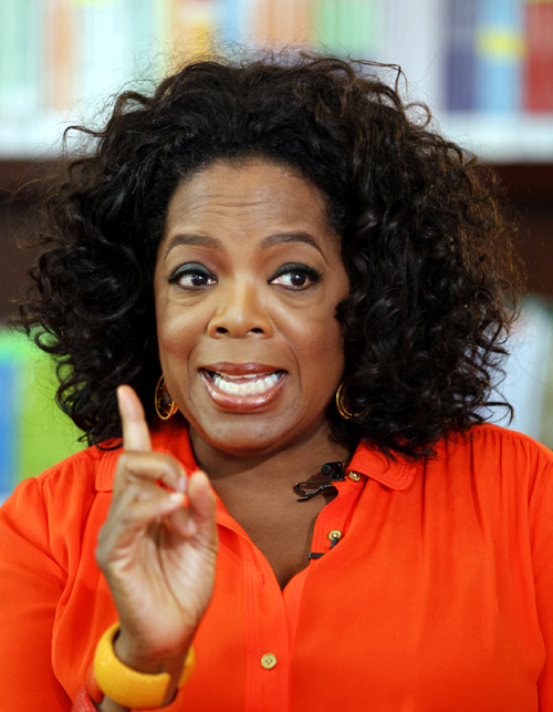 Oprah Winfrey gestures during an interview with Reuters at her Oprah Winfrey Leadership Academy for Girls in Henley-on-Klip, outside Johannesburg.